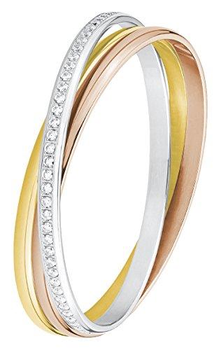 s.Oliver Damen-Armreif Tricolor IP Rose Gold Edelstahl Zirkonia weiß 6.5 cm