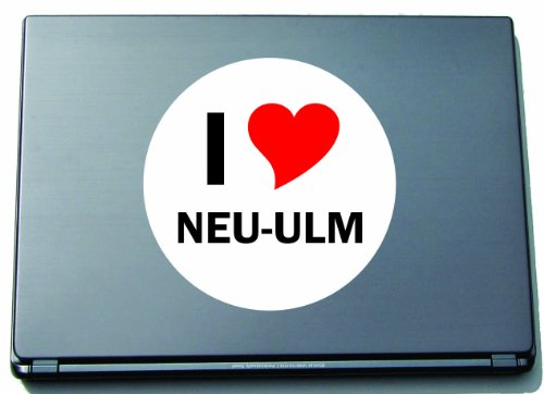 Indigos I Love Aufkleber Decal Sticker Laptopaufkleber Laptopskin 210 mm mit Stadtname NEU-ULM