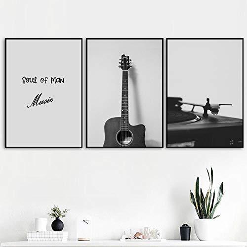 WADPJ zwart-wit retro poster gitaar cd-speler muziek muurkunst canvas schilderij Nordic Prints foto's woonkamer huis decoratie 50 x 70 cm x 3 stuks geen lijst