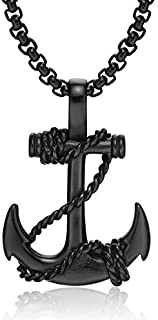 Stainless Steel with Anchor Pendant Men Necklace
