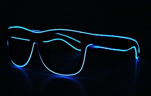 Lunettes de soleil Weka à fil LED EL, lumineuses et clignotantes - Bleues, pour la fête