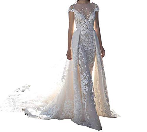 CGown Illusion Jewel Spitzenapplikation Meerjungfrau Hochzeitskleider mit abnehmbarem Zug, Brautkleid Gr. 38, weiß