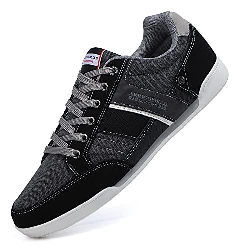 TARELO Zapatillas Hombre Casual Sneaker Moda Deportivas Interior Zapatos Gimnasia Comodos Exterior Running Deportes Talla 41-46 (Negro, Numeric_43)