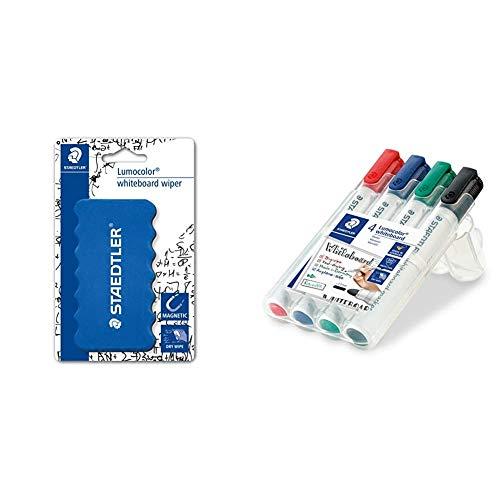 STAEDTLER Lumocolor whiteboard marker, confezione da 4, punta tonda, 351 WP4 & 652 BK Cancellino per Lavagne Bianche