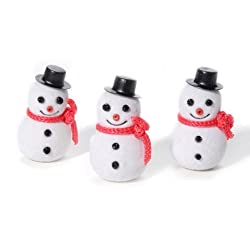 Flocked Snowman - 1-1/2 inches - 10 pieces