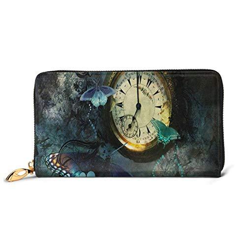 Reloj mariposa impreso cuero cartera mujeres cremallera bolso embrague bolsa viaje tarjeta de crédito titular monedero, Black (Negro) - Black-48