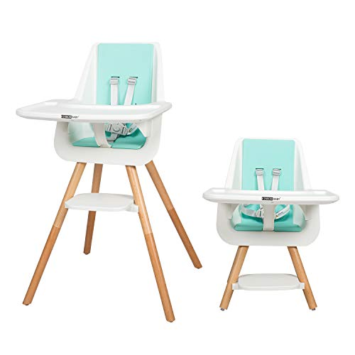 Kinbor Baby High Chair with Removable Tray Wooden 3 in 1 High Chair Booster Chair with Adjustable Legs for Baby Infants and Toddlers