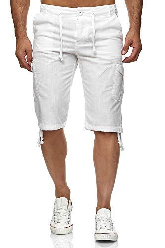 Reslad Leinen Cargo Shorts Männer Strandhose Herren Leinenhose 3/4 Hose Freizeit Kurze Hosen Sommer Bermudas RS-3001 Weiß L