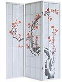 JUANIO Biombo de Madera Blanca con Flores de Cerezo - 3 Paneles