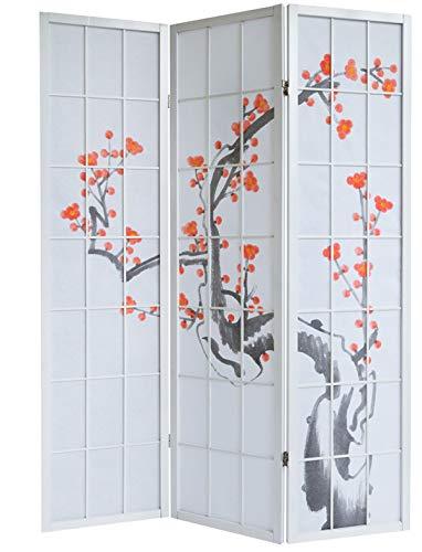 PEGANE Paravento in Legno con Fiore di Ciliegia Bianca di 3 Pannelli