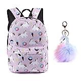 Unicorn Backpack Lightweight Kids School for Girls with Headbands or Keychain (Stlye2 Pink+Keychain)