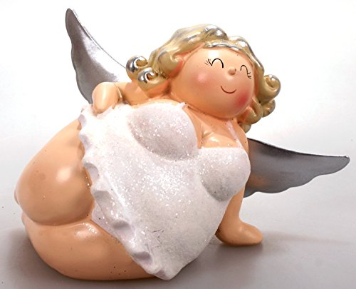 Engel Molly liegend weiß 11 cm Mädchen Rubensfrau mollige Dame im Dessous Dicke Frau Badezimmer Figur