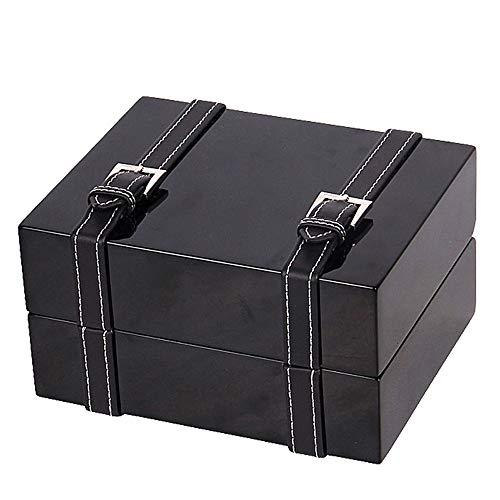 HUDEMR - Caja de reloj para relojes de madera para mujer y hombre (color: negro, tamaño: 16,8 x 13,3 x 8 cm)