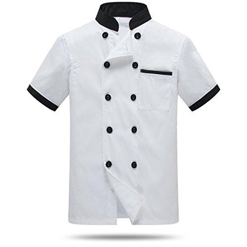 WAIWAIZUI Giacche da Chef Manica Corta La Schiena e Ascelle delle Maglie Bianco