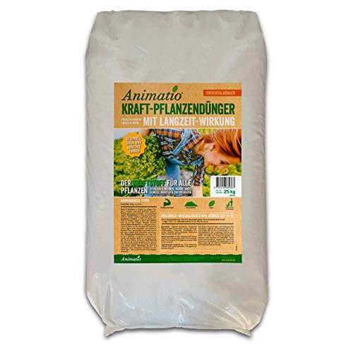 Dünger für Grünpflanzen & Gartenpflanzen - Animatio easy Pflanzendünger & Gartendünger, organisch mineralisch, kräftiges Pflanzen-Wachstum, Langzeitwirkung, Inhalt: 25 kg