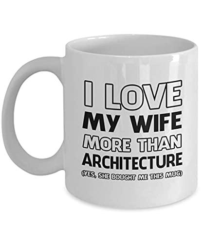 Taza de cerámica con texto en inglés «I Love My Wife More Than » con caja de regalo para hombres o mujeres