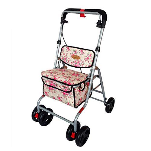 Einkaufstrolleys Einkaufswagen Old Man Wagen Faltbarer Rollstuhl Tragbarer Wanderer Mit Einem Einkaufsbummel Geschenk 100 Kg (Color : Pink, Size : 58 * 47 * 82-90cm)