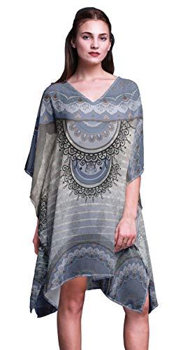 Phagun Azul Floral Mandala Damas Talla Extra Kaftan Ropa de Verano Ropa de Playa Kimono Caftan-XL-3X