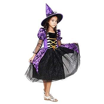 Girls Witch Costume Glamour Queen Kids Halloween Dress Deluxe Set -Queen 7-9 Year