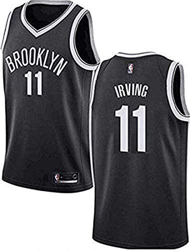Kid Boy Mens NBA Jersey Dwin Kyrie Irving Maglie - Brooklyn Nets # 11 NBA Basketball Jersey Swingman Vest, Black, XXL (185-190cm / 95-110kg)