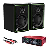 Mackie CR3-X Series 3' Studio Monitors (Pair) with Focusrite Scarlett Solo Audio Interface (3rd Gen) & 3.3' Phone to Phone (1/4') Cable Bundle