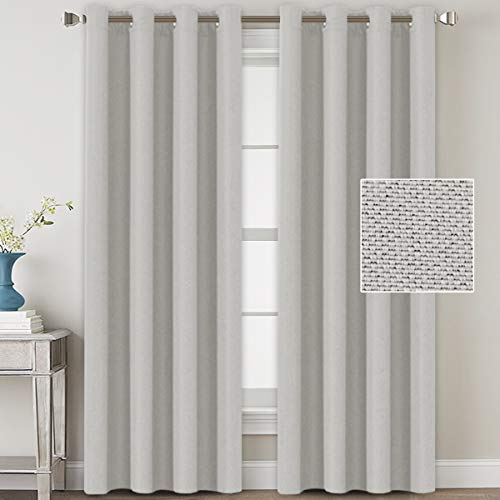 H.VERSAILTEX Linen Blackout Curtains 108 Inches Long for Bedroom/Living Room Thermal Insulated Grommet Curtain Drapes Primitive Textured Linen Burlab Effect Window Draperies 2 Panels - Off White