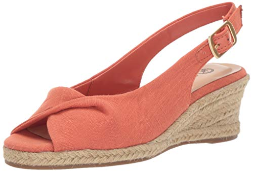 Bella Vita Women's Sylvie II Espadrille Sandal Shoe, Melon Linen, 7.5 M US