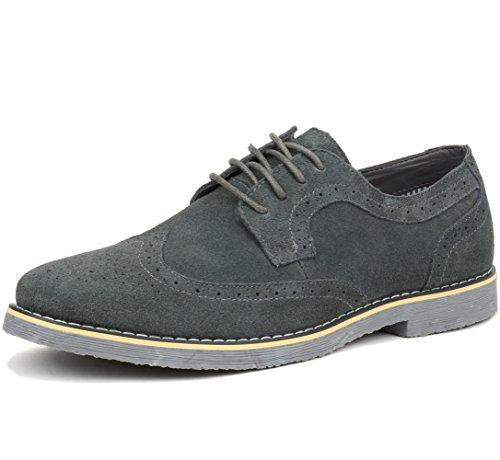 Alpine Swiss Beau Mens Dress Shoes Genuine Suede Wingtip Oxfords Gray 10 M US