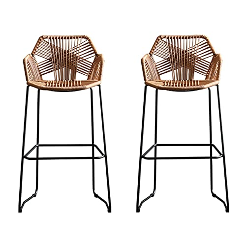 QQLOV 2 Pieces Brown Rattan Bar Stool Home Back Rattan Wicker Barstools Chair High Bar Stool with Black Metal Base, for Kitchen Pub Counter Rattan Dining Chair(Size:65cm/2 piece set)