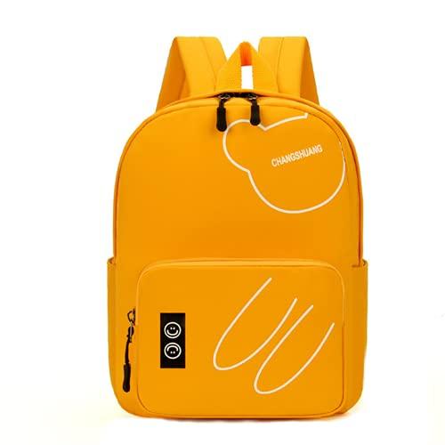 MINGPAI Oso de dibujos animados mochila escolar para niños jardín de infantes niños y niñas mochila linda para bebés (yellow,27 * 21 * 14cm)