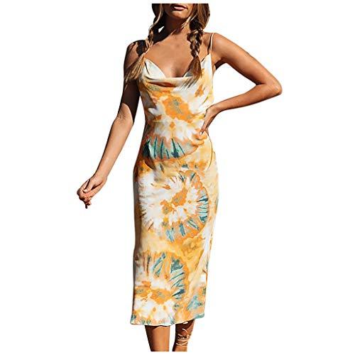 SuperSU Damen Sommerkleider Frauen Sexy V-Ausschnitt Partykleid Tie-dye Druck Ärmellos Abendkleider Lose Unregelmäßig Wickelkleid Sling Short Mini Kleid Reizvolle Cocktailkleid