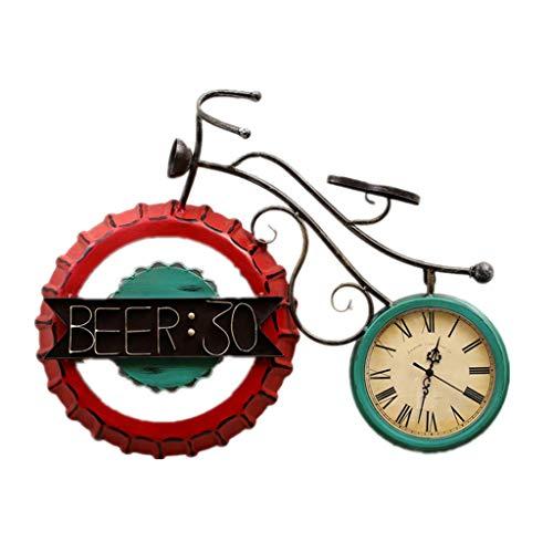 DJX Reloj de Pared clásico Reloj Retro de la decoración de la Tapa de la Botella de Vino, Mudo Creativo del Reloj de Pared de la Bicicleta del Ornamento de la Personalidad Mudo
