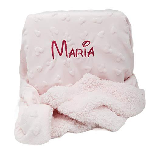 Manta Bebé Disney Personalizada con nombre Bordado. Regalos originales para la Canastilla del Recién Nacido (Rosa)