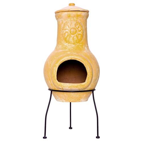 Nexos Terrassenofen Gartenkamin Terracotta 70 cm Gartenofen Yaqui Stahlgestell Feueröffnung 17x13 cm Schlot 22x15 cm robust 16 kg