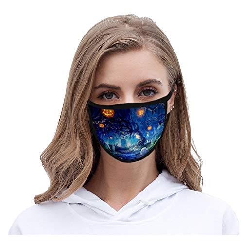 riou Halloween Damen Mundschutz mit Motiv Waschbar Wiederverwendbar Baumwolle Mund und Nasen Maske und Nasenschutz Halstuch
