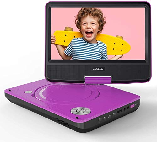"COOAU 11"" Portable DVD Player, Support Power Bank Charging, Last Memory Function, Region Free, SD/USB/AV-Out Port with 9"" HD Swivel Screen, Purple"