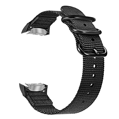 Fintie Band Compatible with Gear S2, Soft Woven Nylon Adjustable Replacement Sport Strap with Adapters Compatible with Samsung Gear S2 SM-R720 SM-R730 Smart Watch, Black