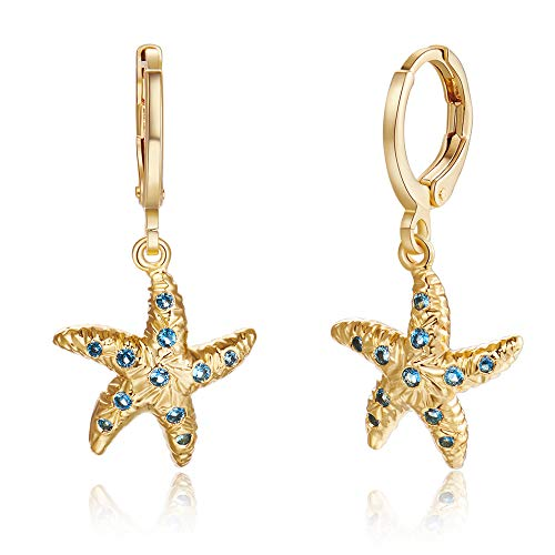 Starfish Hoop Earrings14K Gold Plated Dainty Ocean Animals Dangle Drop Jewelry Gift For Women