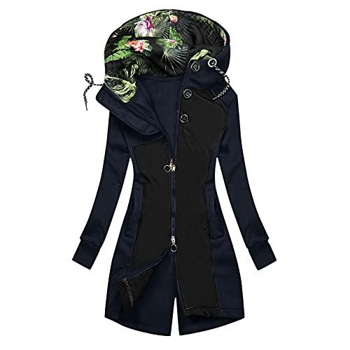 ZWQJYH Sudadera con capucha para mujer, para otoño e invierno, con forro cálido, con cremallera, manga larga, informal, de entretiempo, para exterior, azul marino, S
