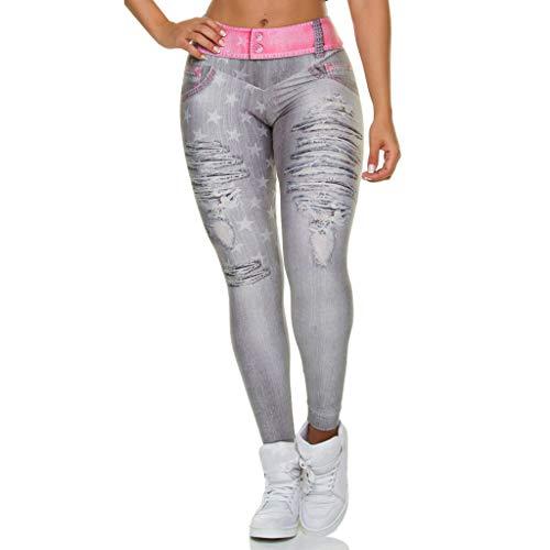 QHJ Leggings Femme Jeggings Slim Collant Extensible Push Up Fesse Pantalon de Crayon Cigare Automne Hiver Jeans Leggings Slim Faux Faux Trou déchiré