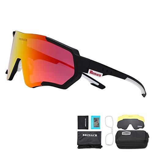 BRZSACR Gafas de Sol Deportivas polarizadas Protección UV400 Gafas de Ciclismo con 3 Lentes Intercambiables para Ciclismo, béisbol, Pesca, esquí, Funcionamiento (Negro rojo)