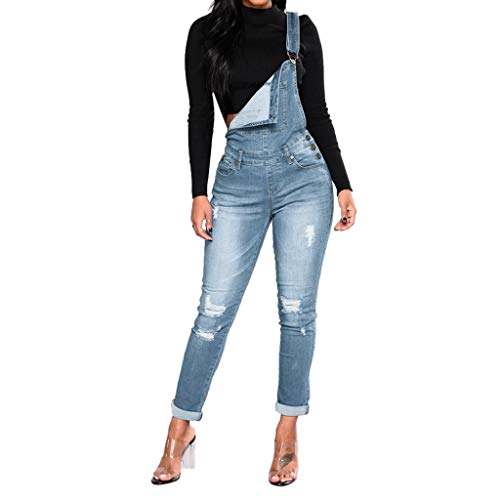 bobo4818 Jeans Damen Hose Latzhose Skinny Latzjeans Röhrenjeans Hüftjeans Low Waist Overall mit Träger Overall Jumpsuit Trägerhose Hoseanzug (XL, Blue)