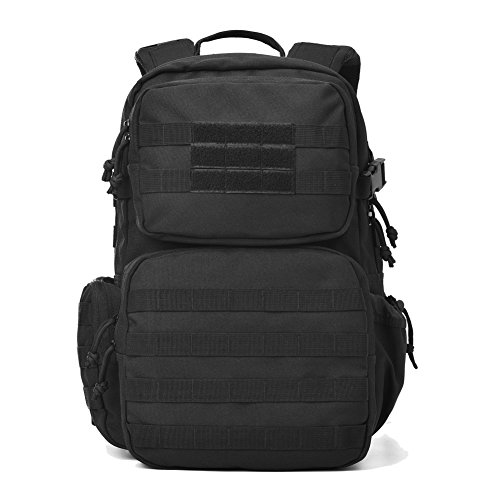 REEBOW GEAR Military Tactical Backpack Army Assault Pack Molle Bug Bag Backpacks Rucksack for Outdoor Sport Travel Hiking Camping School Daypack Black