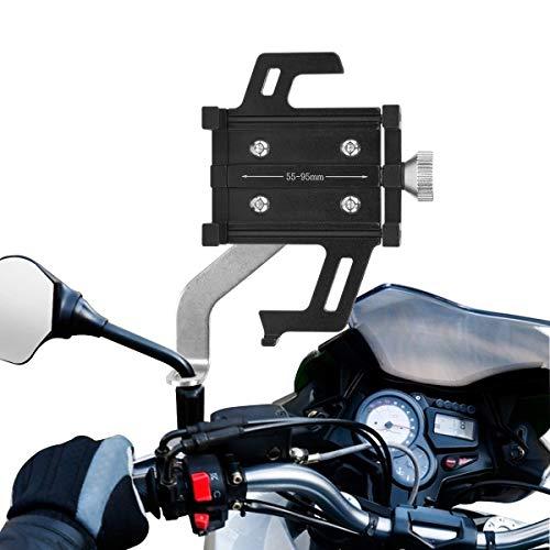 Qomolo Porta Cellulare per Moto, Porta Cellulare per Bicicletta Lega di Alluminio per Scooter Porta Cellulare Universale per Bicicletta Anti-Shake Rimovibile per Smartphone da 3,5-7,2 Pollici