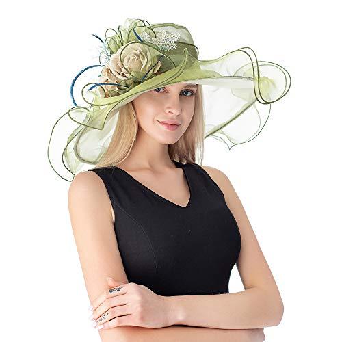 Green Floral Fancy Derby Hat