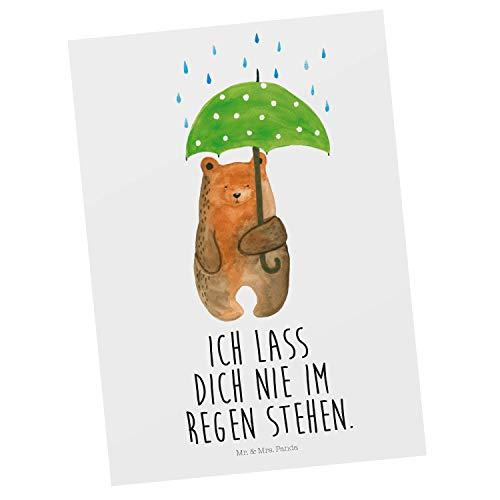 Mr. & Mrs. Panda Einladung, Geschenkkarte, Postkarte Bär mit Regenschirm mit Spruch - Farbe Weiß