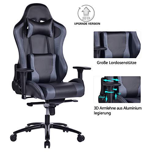 Wolmics großer Memory Foam Gaming Stuhl Verstellbarer Neigungswinkel Rückenwinkel und 3D-Arme Ergonomische hohe Rückenlehne aus Leder Exklusiver Computer-Schreibtisch Bürostuhl mit Metallsockel Grau