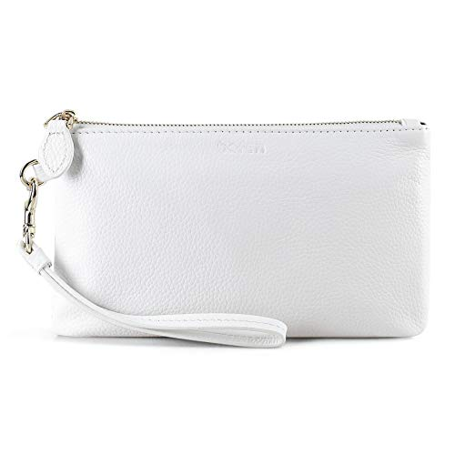 1. A wristlet and clutch in one, this portable style is crafted in textured grain leather and is perfect for organizing accessories while on the go! Carry it alone or keep smaller items organized in backpacks and bags. MATERIAL: Soft and supple pebbl...