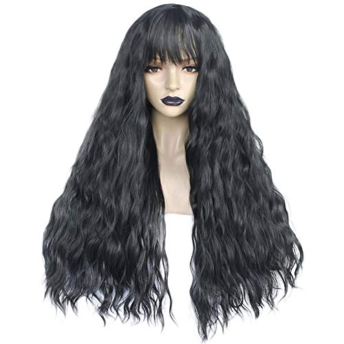Anogol Hair Cap+Black Wig for Lolita Wigs Long Body Wave Wig Fluffy Curly Synthetic Wigs for Women