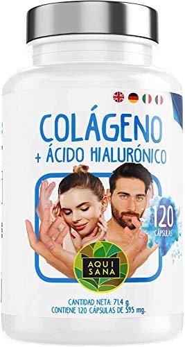 Colágeno con Ácido Hialurónico Cápsulas | Colágeno Hidrolizado con Acido Hialurónico y Vitamina C + Zinc | Piel Radiante | Articulaciones Sanas – 120 Cápsulas – Aquisana